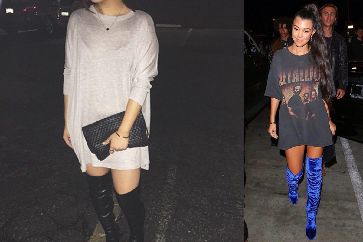 kourtney kardasian and random fashion blogger in oversized tops and thigh high boots
