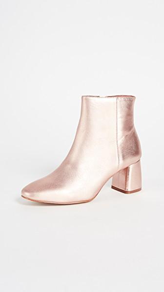 metallic ankle booties