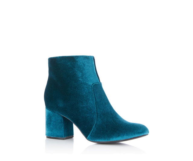 velvet ankle booties