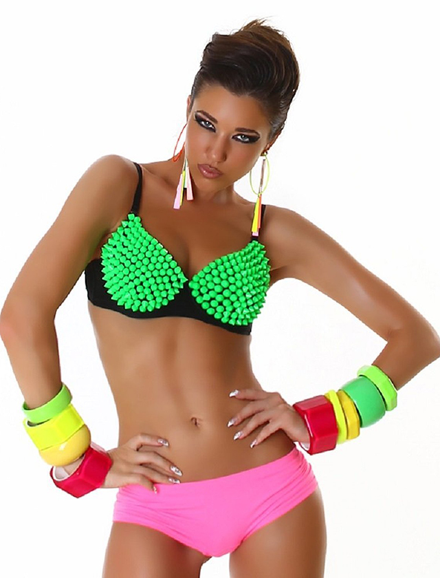 spiked padded party bra