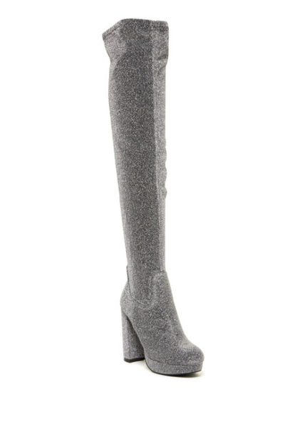 platform over the knee boots glitter