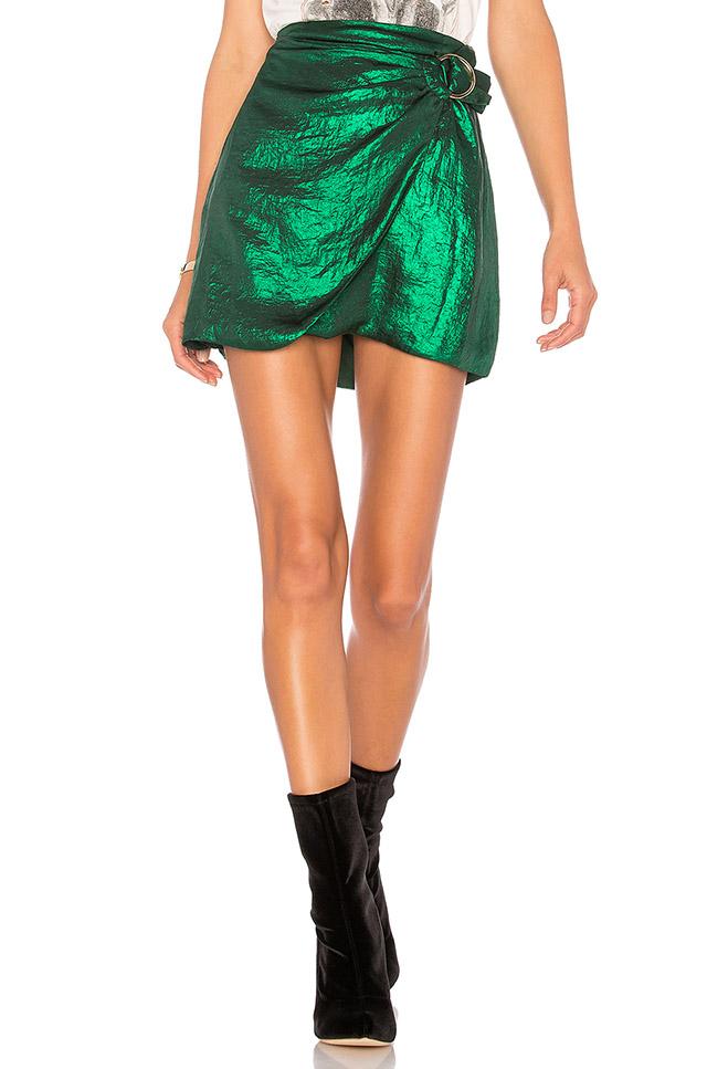 metallic a line skirt