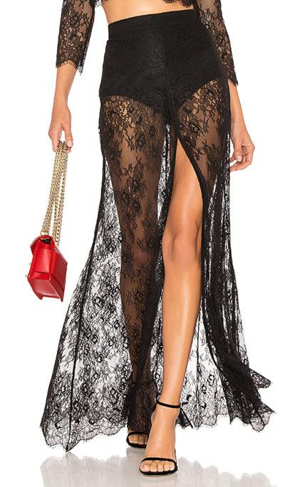 sheer maxi skirt lace