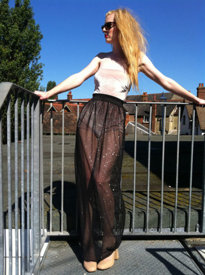 sheer maxi skirt silver thread