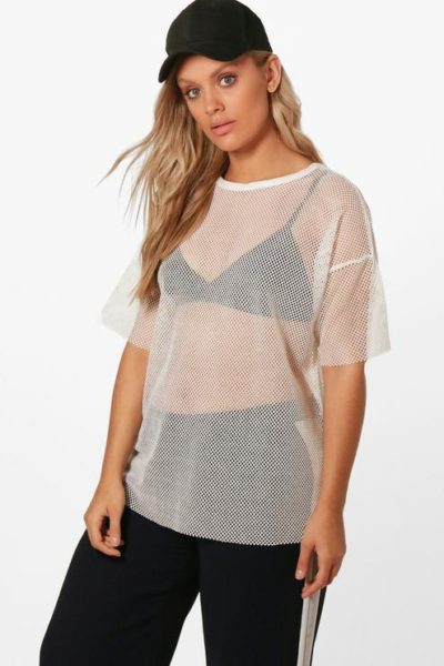 fishnet oversized tee