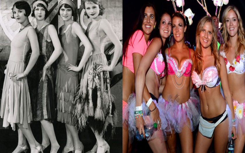 picture of 1920s chorus girls next to pictures of raver girls