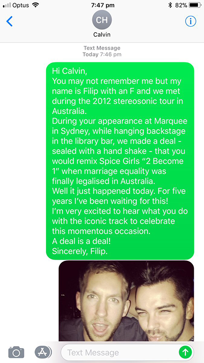 text message from DJ Flip to Calvin Harris about Spice Girls