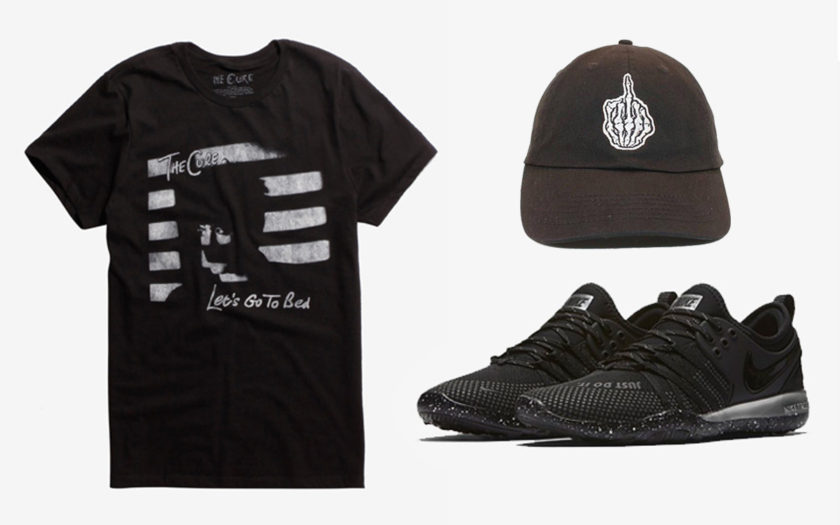 health goth t-shirt dad hat and nikes
