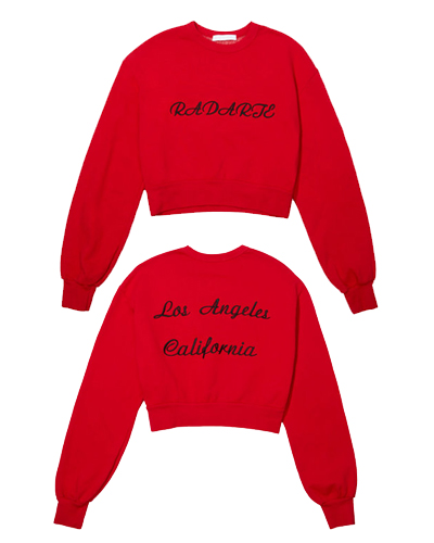 Red LA Embroidery Cropped Sweatshirt