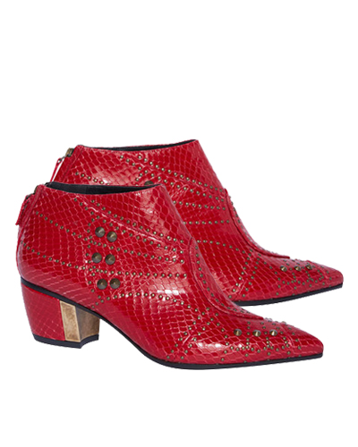 Rodarte Red Studded Embossed Leather Bootie