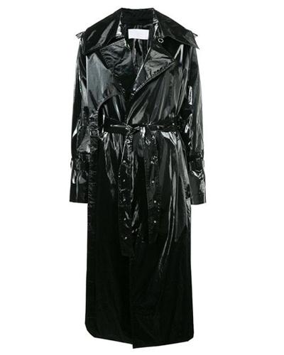 matrix fashion leather trench coat