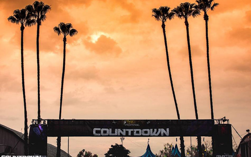 countdown 2017 at sunset with palm trees swaying in the twilight breeze