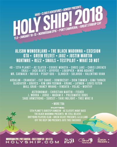 holy ship 2018 lineup