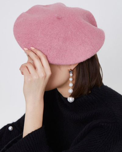 river island pink felt beret