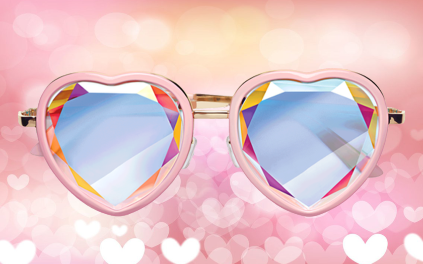 heart shaped sunglasses on a heart background