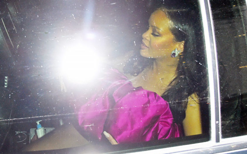 rihanna on her way to 30th birthday party in a car