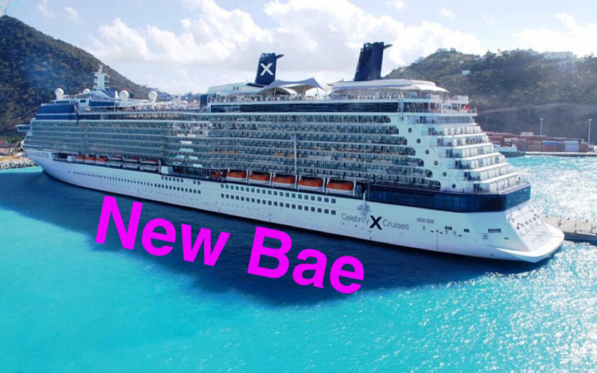 "celebrity cruise liner with the words ""new bae"" over it"