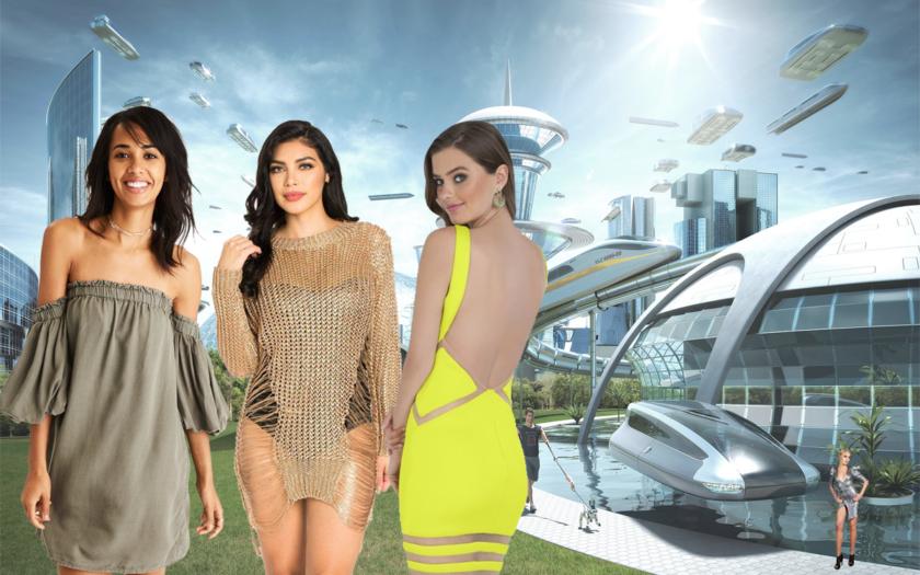 futuristic scene with future dresses
