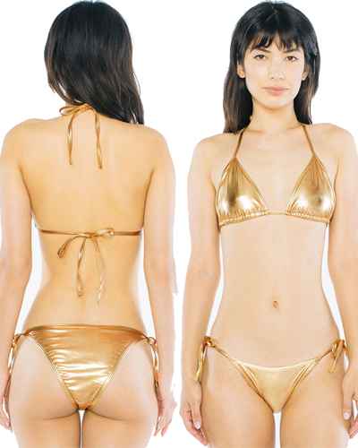American Apparel Triangle Sun Top and Side Tie Bottom in Rose Gold