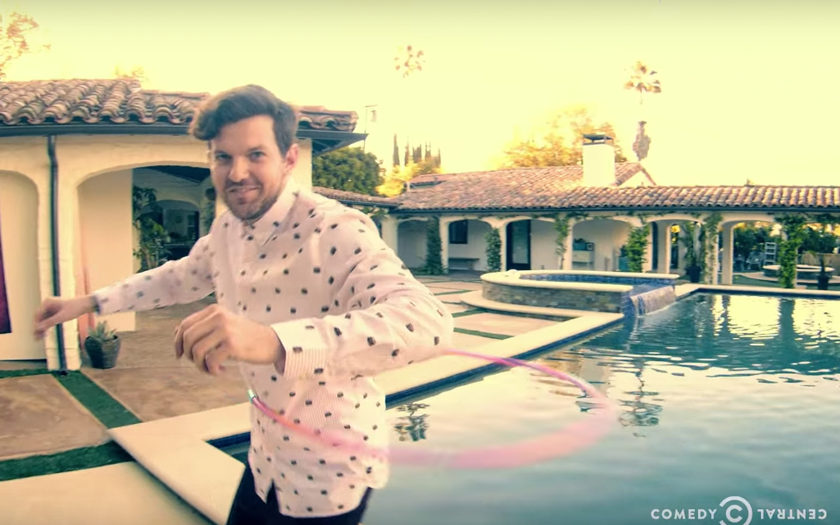 Dillon Francis hula hooping by the pool