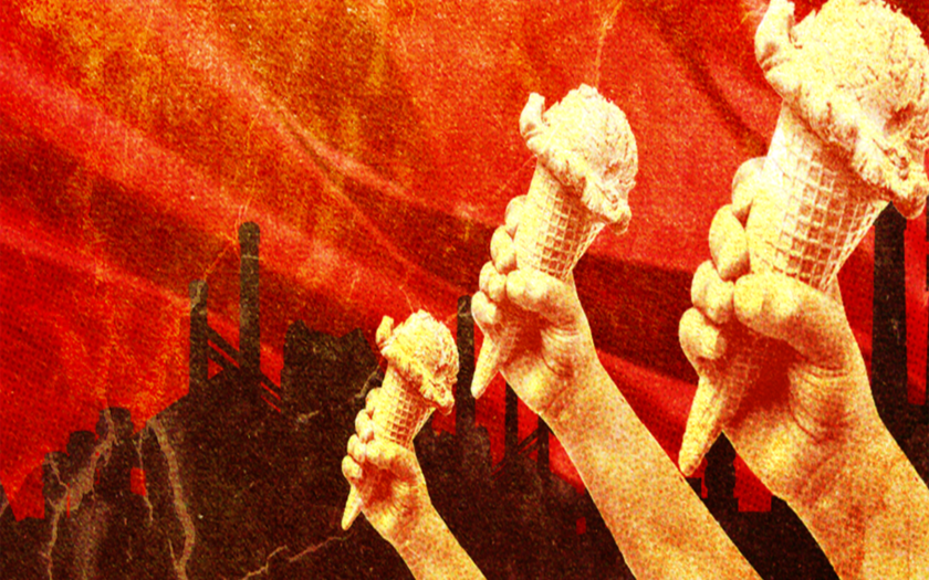 ice cream being held in communist propaganda style art