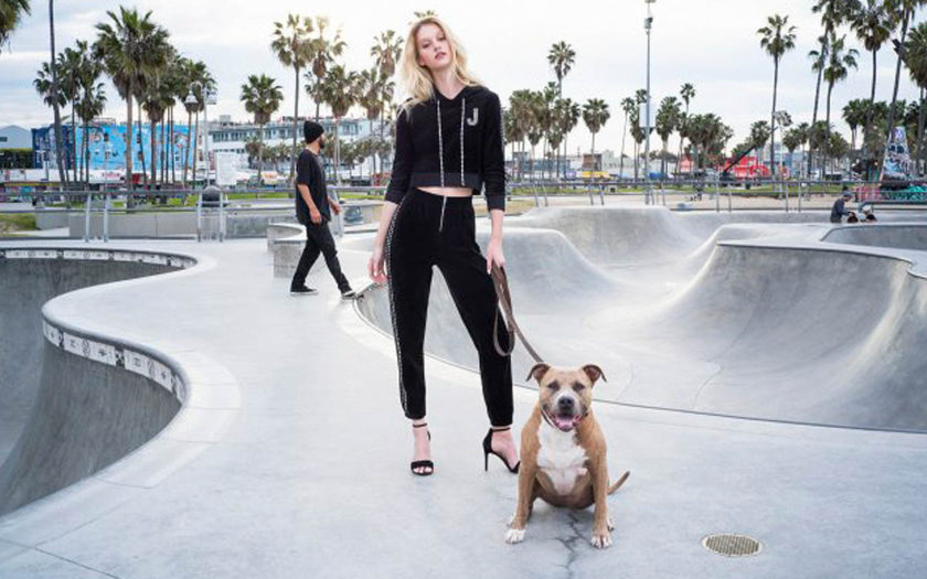 Juicy Couture x Swarovski velour tracksuit at skate park in venice beach