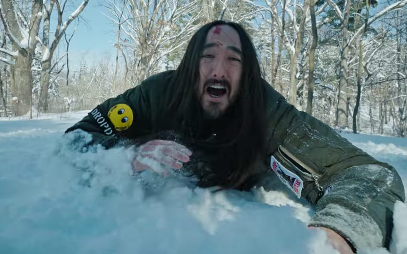 steve aoki struggles through the ice and snow to get to his show on time