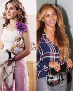 carrie bradshaw in sex in the city and beyonce carry a dior saddle bag circa 2014