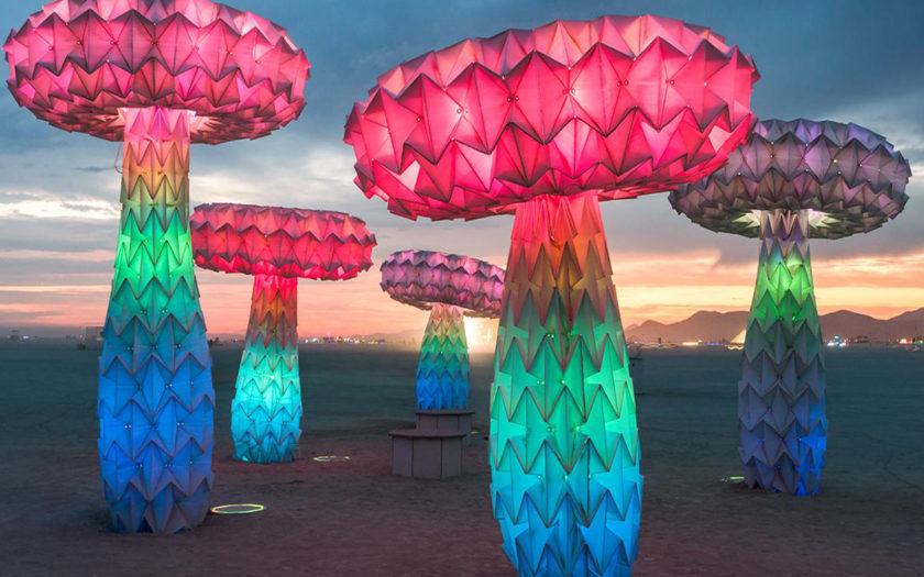 mushroom art installation at burning man 2016