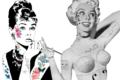 two women wearing temporary tattoo makeup