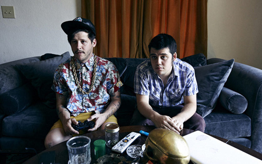 "Wavves member Nathan Williams and his brother, Joel ""Kynan"" Williams play video games in their bachelor pad"