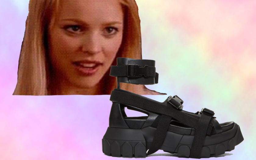 mean girl stares at ugly sandals with amazement