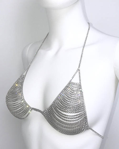 2e0c3b189a Cold Shoulder Designs Crystal Bralette Adjustable Silver Gold Black Diamond  Rhinestone Body Chain Festival