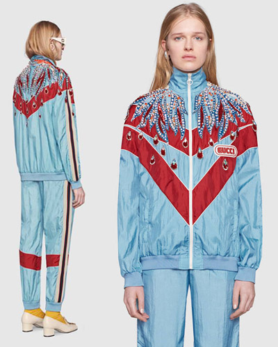 Gucci Embroidered nylon jacket
