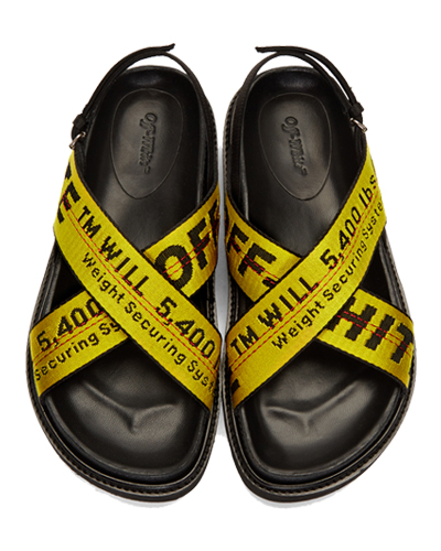 Off-White Yellow Industrial Belt Sandals