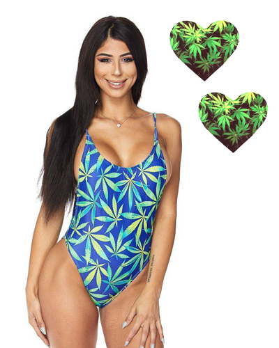 Weed Print High Cut One Piece Swimsuit
