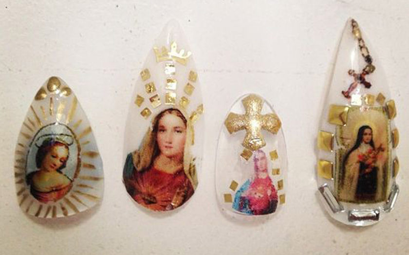 four virgin mary acrylic nails tear shaped