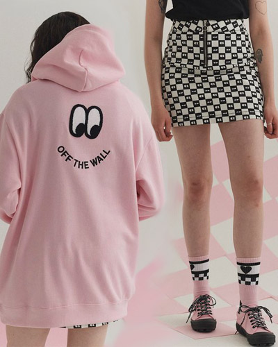 vans x lazy oaf off the wall hoodie and checkerboard eye skirt