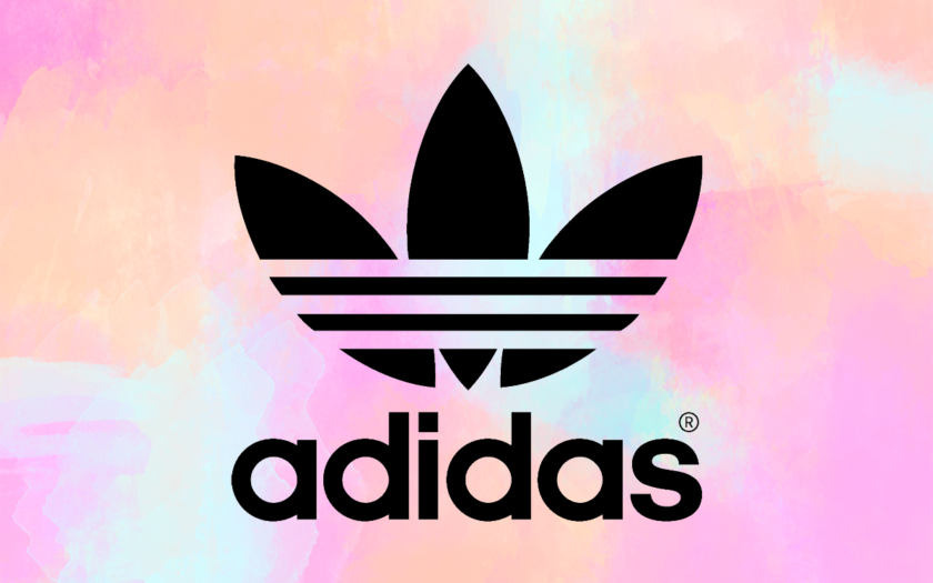Adidas logo on cotton candy background