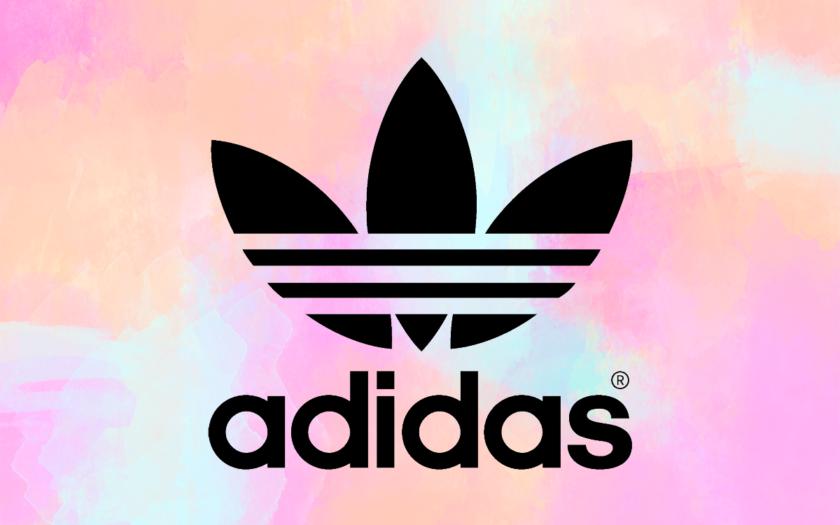 Adidas logo on cotton candy background