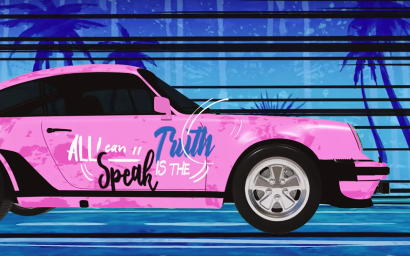 screenshot from show me your love video pink porsche in miami animation