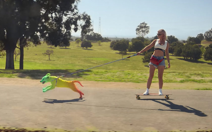woman skateboarding with multicolored golden retriever puppy