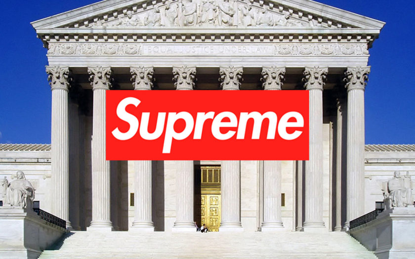 supreme logo over the supreme courthouse