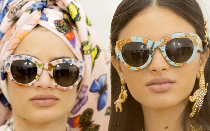 two models wearing versace eyewear