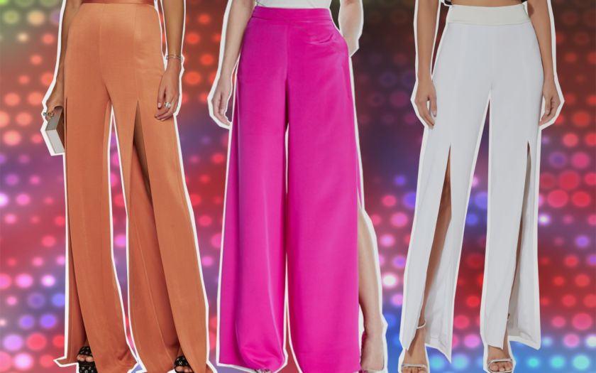 three pairs of side split trousers