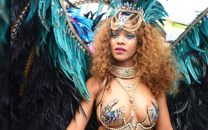 Rihanna at carnival dressed up as her underboob tattoo
