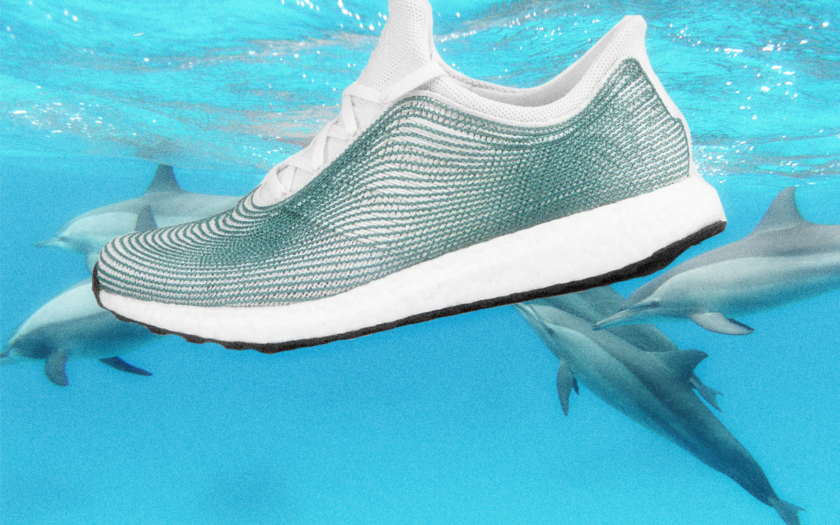 adias parley sneaker swimming with a pod of dolphins