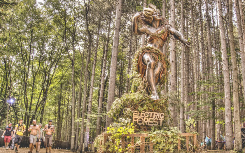 goddess statue at electric forest 2018