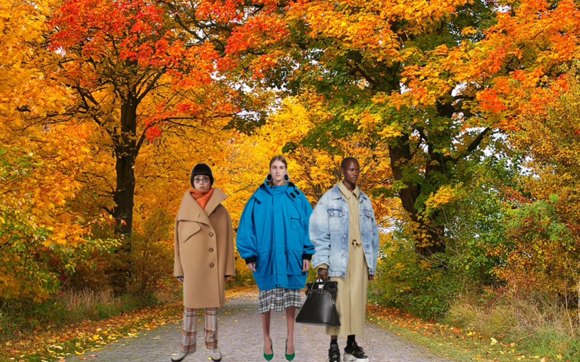 three models wearing designer street fashion coats in autumn