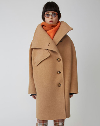 Acne Studios Funnel neck coat camel brown